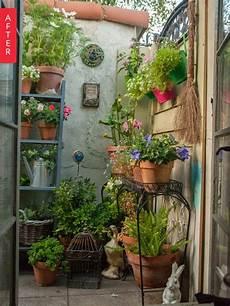 Apartment Patio Container Garden by Before After Plain Patio To Secret Garden Gardens