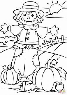 autumn with scarecrow coloring page free printable