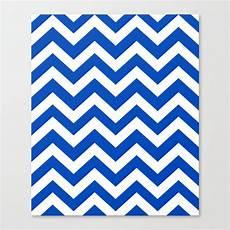 Absolute Zero Blue Color Zigzag Chevron Pattern Canvas