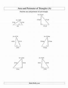 area and perimeter of triangles up to 1 decimal place range 1 5 a