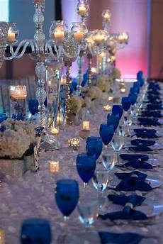 Silver And Blue Decorations by Our Royal Blue Wedding Family Styled Seating Reception