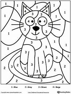 color by number cat coloring pages 18089 color by number cat color worksheets kindergarten colors color by number printable
