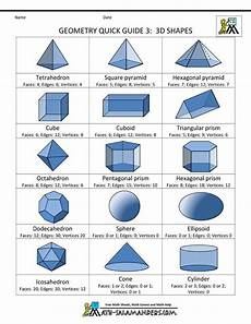 geometry formula sheet 3 3d shapes anchor charts upper