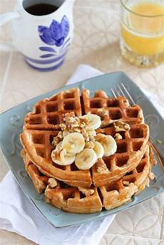 whole wheat banana nut waffles recipe cookin canuck