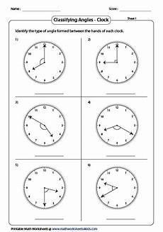 clock face angles worksheet classifying and identifying angles worksheets