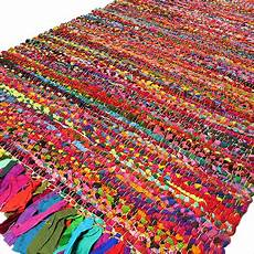 bunter runder teppich 3 x 5 ft colorful woven chindi rag rug indian bohemian