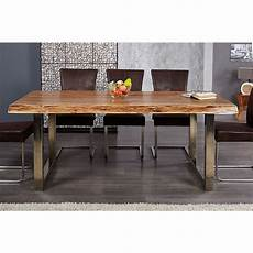table sejour design table a manger bois d acacia pieds chrom 233 comforium