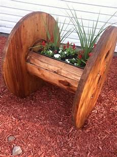 Kabeltrommel Holz Deko - cable reel planter i just finished furniture