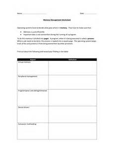 memory management worksheet teaching resources
