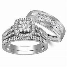 10k white gold his and her rings trio wedding rings set 3