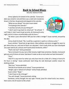 comprehension worksheets for 3rd grade 15636 reading comprehension worksheet back to school blues reading comprehension reading