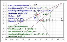 kreise schnittpunkte zweier kreise tangente normale