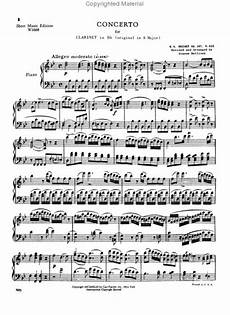 sheet music wolfgang amadeus mozart clarinet concerto k 622 for clarinet in a clarinet