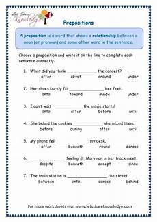 grade 3 grammar topic 17 prepositions worksheets lets knowledge