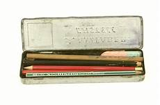 faber castell vintage pencil tin box with a set of