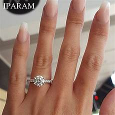 iparam 2019 classic engagement ring 6 claws design aaa