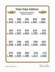 addition math worksheets 3rd grade digit addition worksheet education