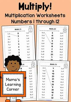multiplication worksheets numbers 1 through 12 mamas learning corner