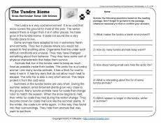 the tundra biome 3rd grade reading comprehension worksheets reading comprehension worksheets