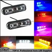 4 LED Vehicle Flashing Grill Lights Bar Strobes Warning
