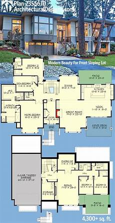 front sloping lot house plans plan 23556jd modern beauty for front sloping lot with