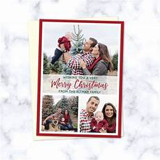 christmas family photo cards with 3 family photos in modern style grid with merry christmas