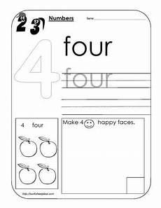 number 4 worksheet preschool math preschool activities