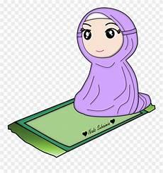 Islam Clipart Solat Gambar Kartun Muslimah Shalat Png