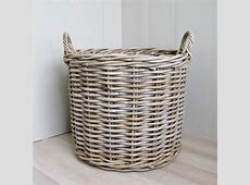 2 Round Rattan Baskets Log Laundry   Bliss and Bloom