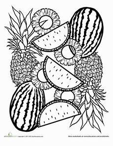 tropical fruit mandala coloring page education