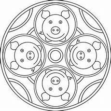 Silvester Malvorlagen Tiere Mandala Gl 252 Cksschweine Tulostusta Varten Mandala