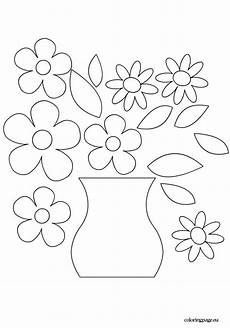 Malvorlage Blumen In Vase Flower Vase Template Coloring Page Vase Crafts Flower