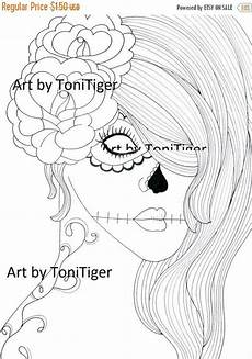 instant digital coloring page sugar skull and roses coloring page