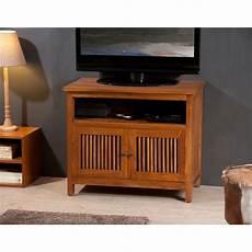 meuble tv cube meuble tv 2 portes persiennes bois teck