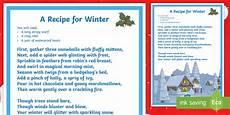 Ks2 Recipe For Winter Poem Made