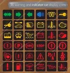 Warning And Indicator Car Display Icons Set Stock Vector