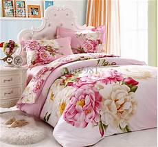 elegant pink flower girls bedding set queen king size 100 cotton floral pattern quilt duvet
