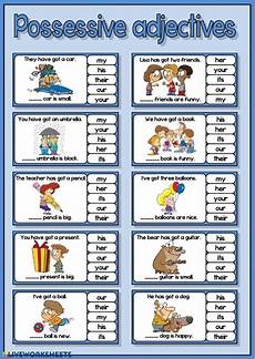 possessive adjectives english as a second language esl online exercise