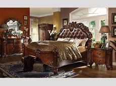 Vendome 4pc Upholstered Brown Victorian King Bedroom Set