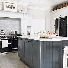 Modern Country Kitchen Island Ideas by Country Kitchen With Grey Island And Black Range Cooker