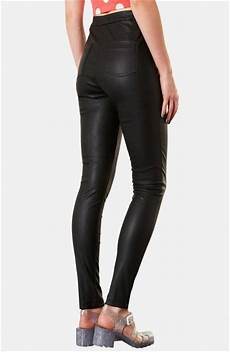 High Waist Faux Leather topshop debbie high waist faux leather in black lyst