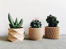 cache pot design set de 3 mini pots cache pots g 233 om 233 triques imprim 233 s en bois