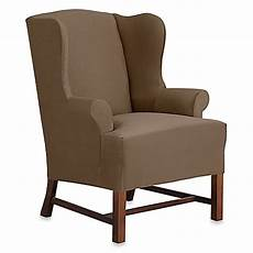sure fit 174 designer suede wingback chair slipcover bed bath beyond