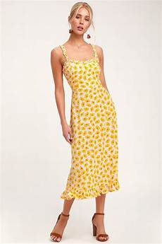 Faithfull The Brand Noemie Yellow Floral Print Dress Midi