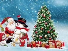 merry santa snowman winter tree