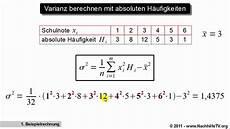 varianz berechnen mit absoluten h 228 ufigkeiten