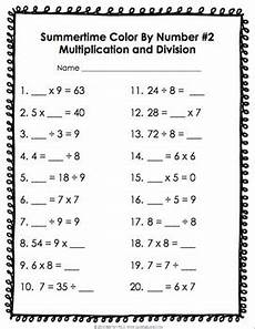 3rd grade end of the year math review color by number summer packet