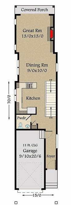 narrow house plans with front garage narrow lot 3 bed craftsman house plan with 1 car garage