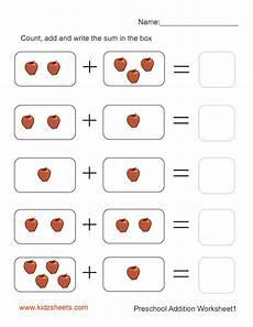 kidz worksheets preschool addition worksheet1