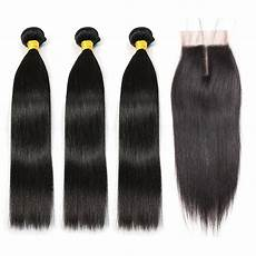 Amazon Com 3 Part Lace Closure Straight With Brazilian Hair 3 Bundles Straight With Lace Front Middle